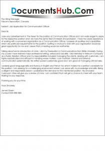Cover Letter for Communication Officer