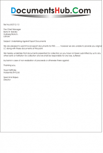 Undertaking Letter against Export Documents