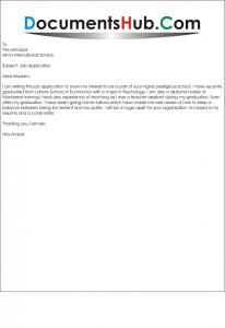 Job Application for Montessori Teacher Sample