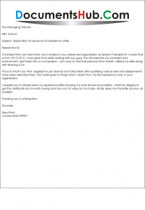 Sample Application for Issuance of Experience Letter