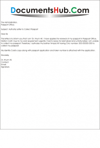 Sample Authority Letter to Collect Passport