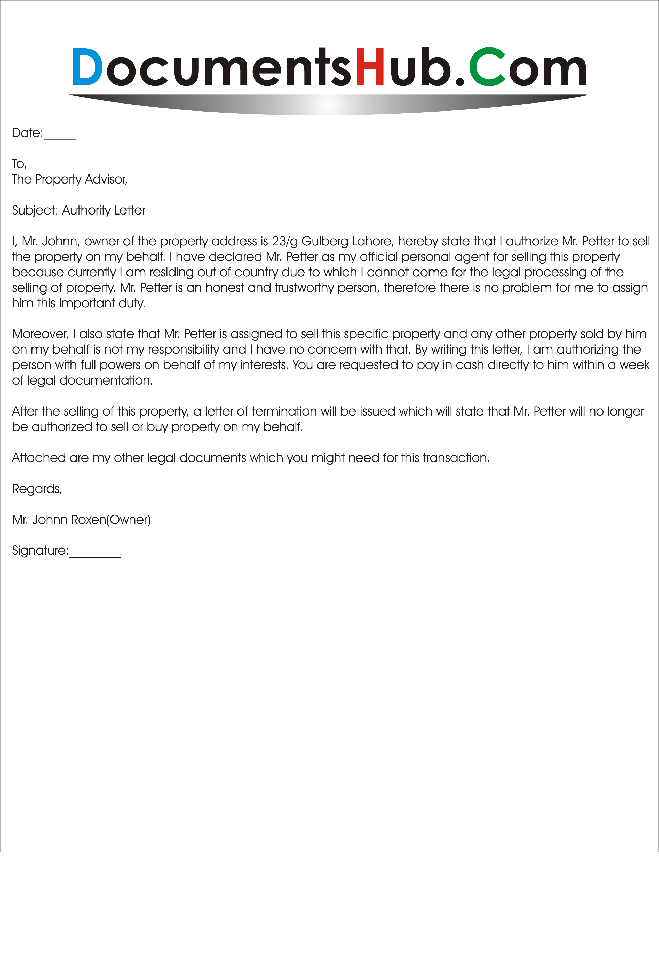 writing a letter to property owner