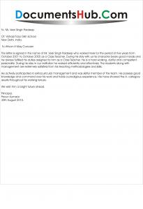 Experience letter for Senior Teacher