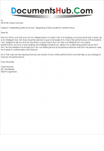 Sample Undertaking Letter by School