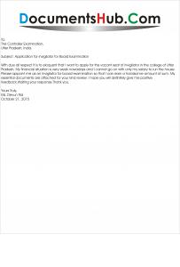 Sample Application for Invigilator for Board Examination