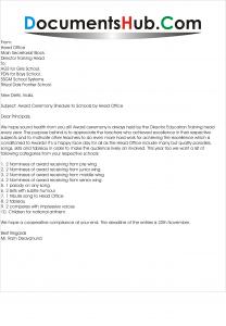 Invitation Letter of Award Ceremony to Schools