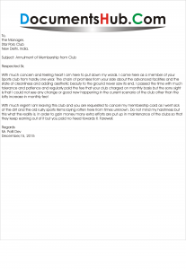 Membership Cancellation Letter Format