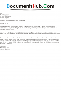Complaint Letter Format to Landlord