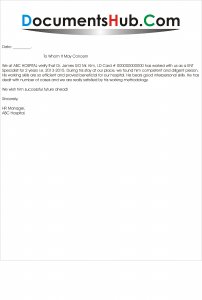 Format of Experience Letter for Doctors