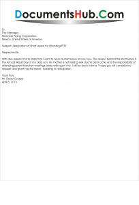 Application of Short Leave for Attending PTM
