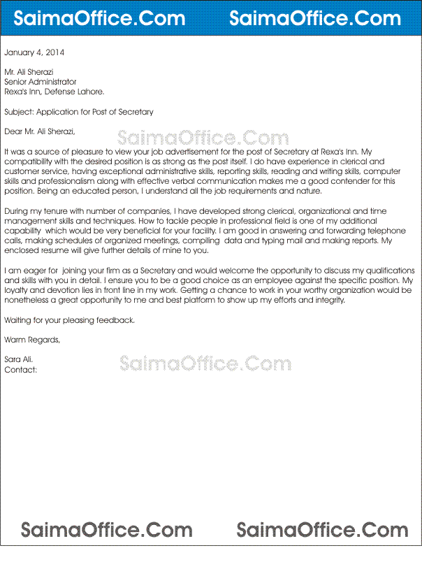 Job_Application_Letter_for_Secretary Job Application Letter Cashier Position on intent apply for internal, reference for, interest for new, intent internal,