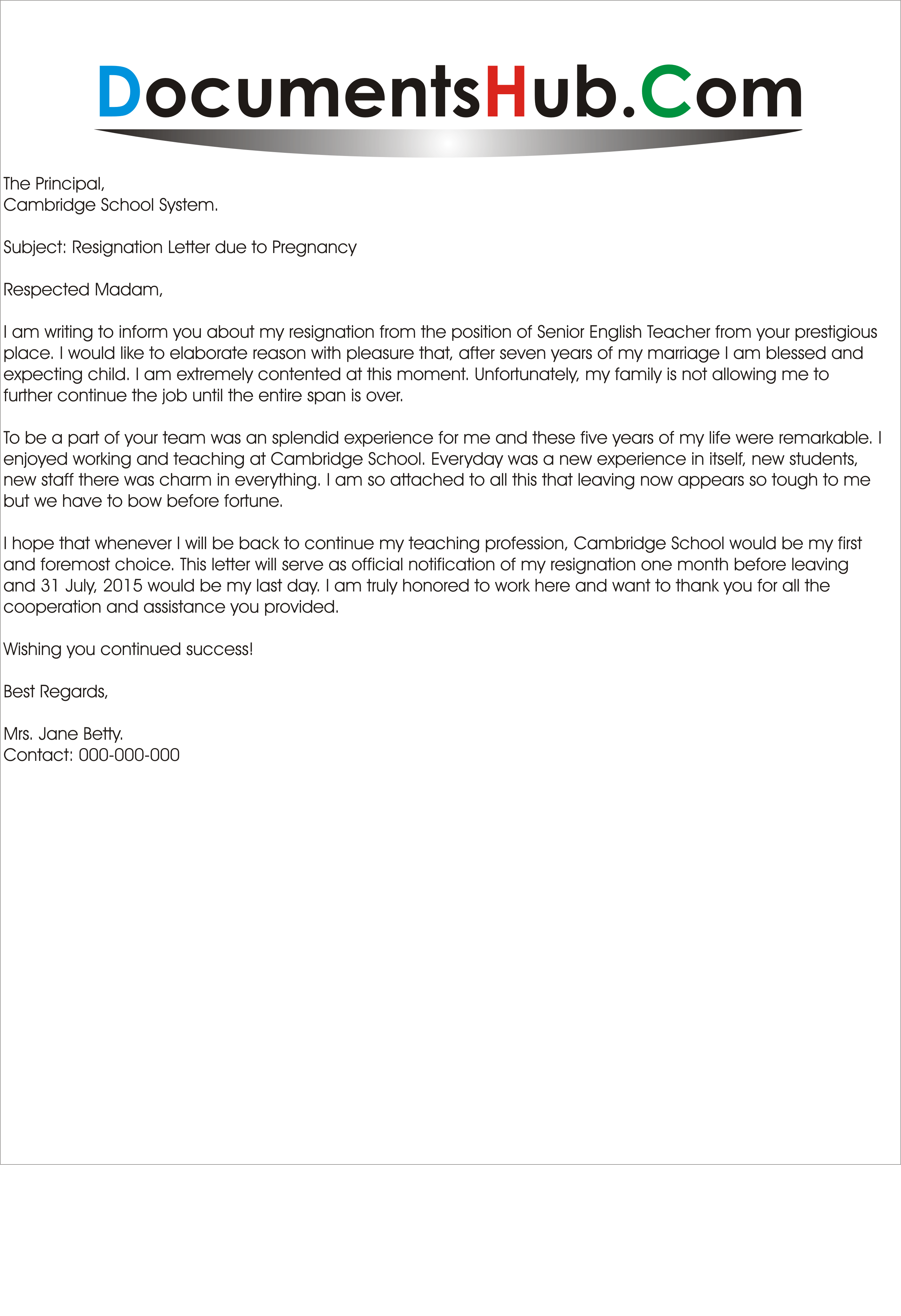 Resignation Letter Due To Pregnancy