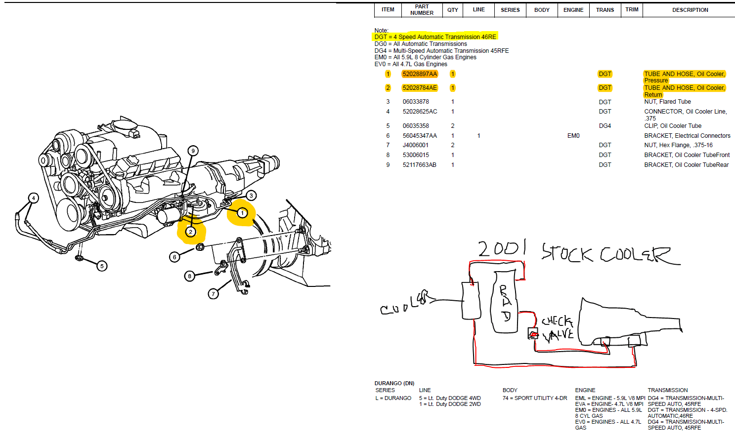 Dodge Durango 5 2 Coolant Hose Diagram