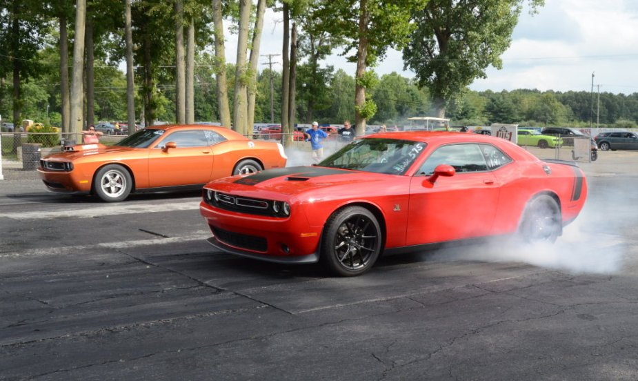Dueling Challenger Burnouts