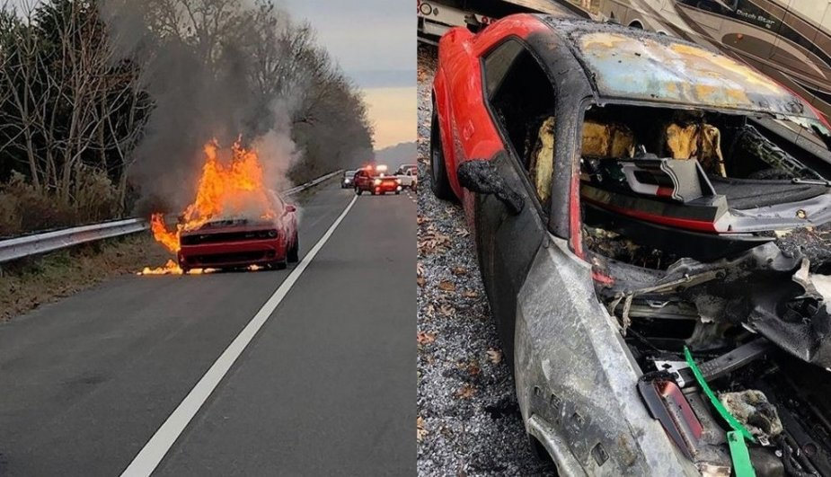 Dodge Demon Burning and Burned
