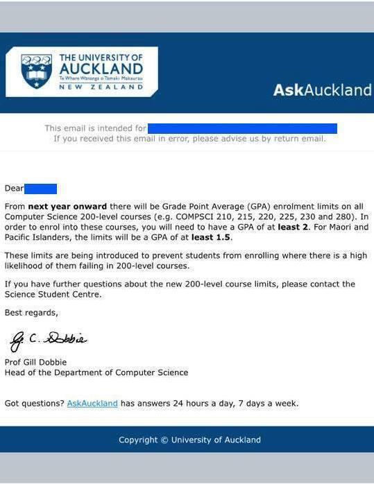 Auckland University Letter