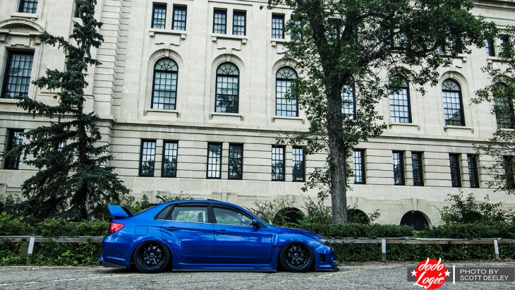 A Bagged Subaru STI in the Spotlight