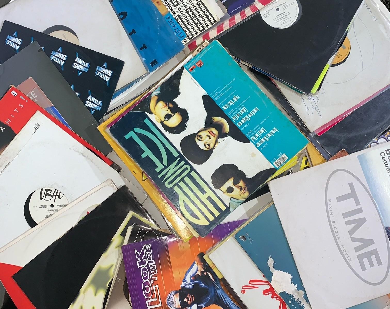 Lote de discos de vinil usados
