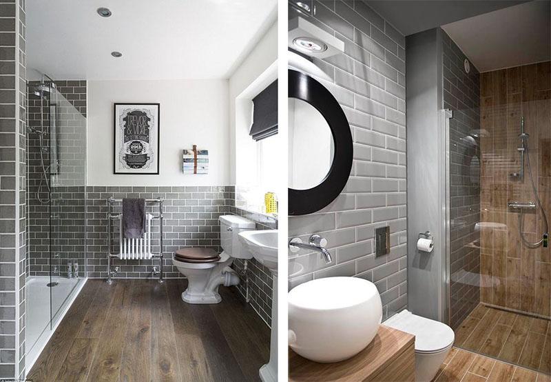 banheiro ladrilho cinza madeira
