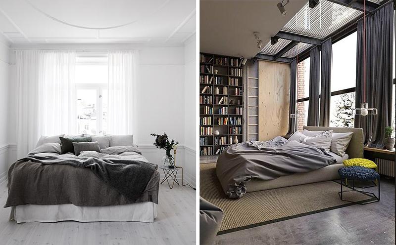cama embaixo da janela cortina