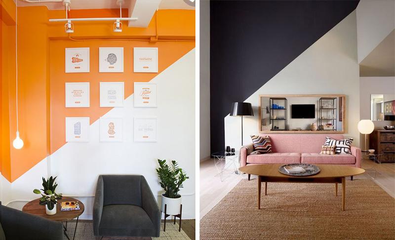parede pintada diagonal