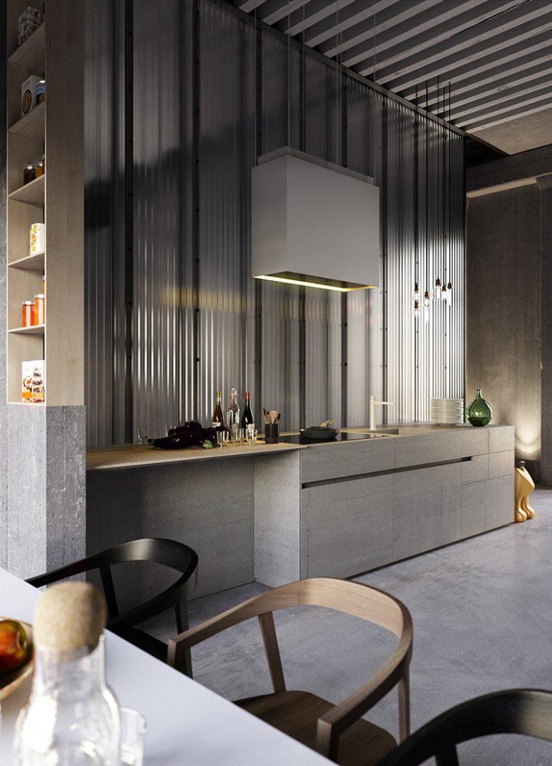 cozinha industrial vidro canelado