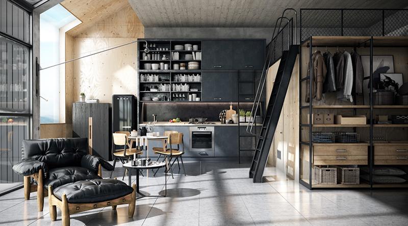 cozinha industrial loft