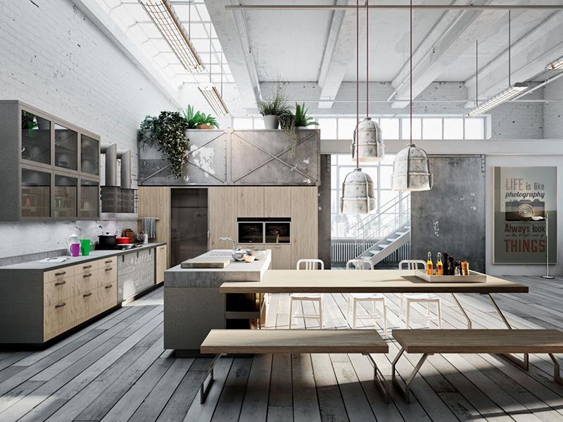 cozinha industrial iluminada