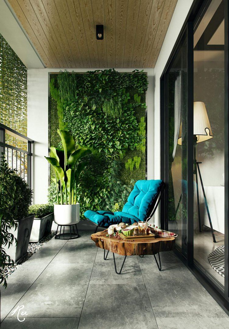 Sacada com jardim vertical