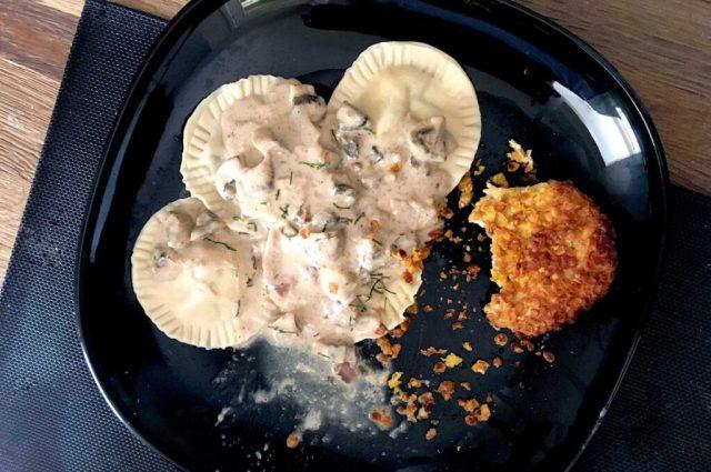 verse gevulde pasta champignons ui