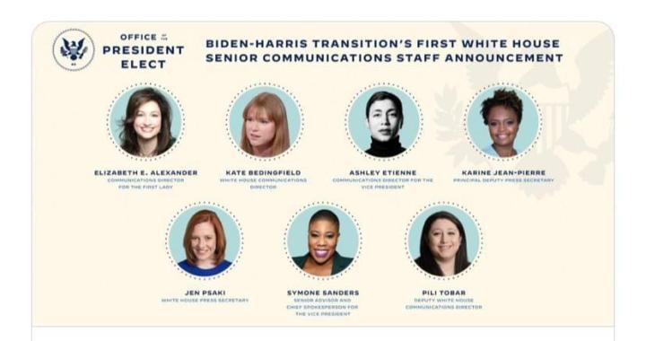 Joe Biden nomme une équipe de communication entièrement féminine