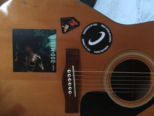 A podcast about movie making and the scifi featurette, Daughter of God, with Director Shri Fugi Spilt, (Dan Kelly). Episode 043 Blessings, (stickers). Deployment of the Yamaha guitar Brad Robinson helped me buy in 1985-ish.