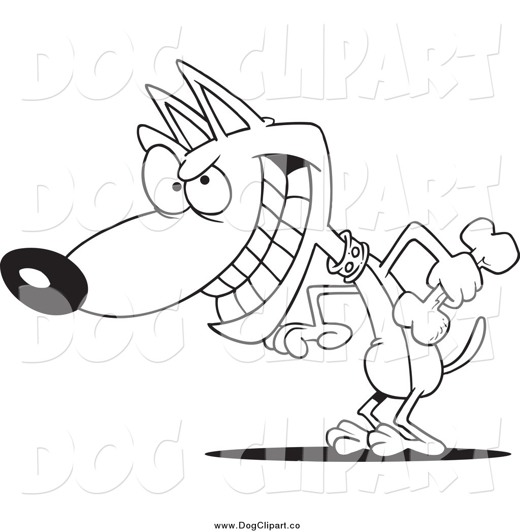Vector Cartoon Clip Art Of A Black And White Psychotic Dog