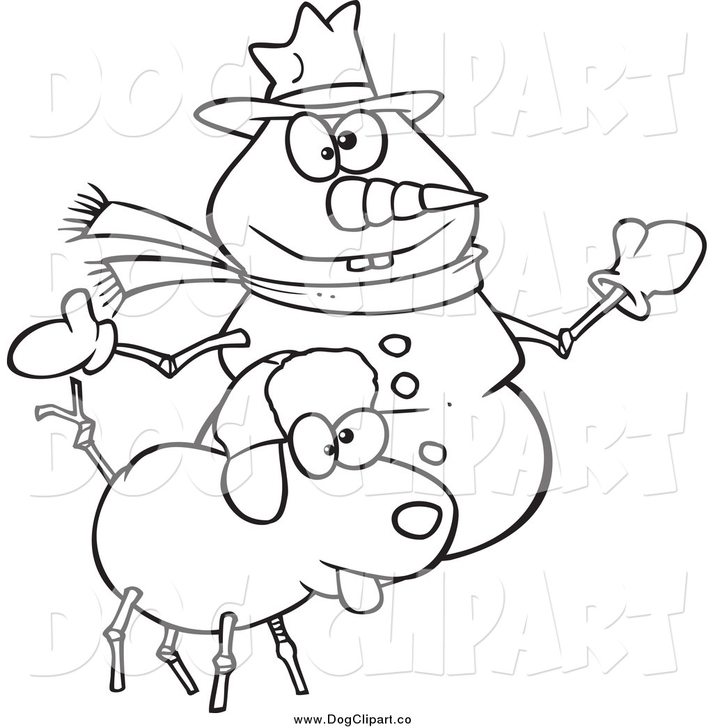 Vector Cartoon Clip Art Of A Black And White Snow Dog And