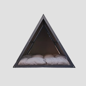 Smooth Gray Solid Pine Triangle Wooden Dog Bed