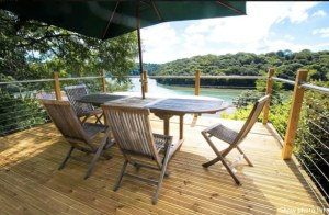 View over the Fal river from Heron's Catch airbnb property Truro dog friendly