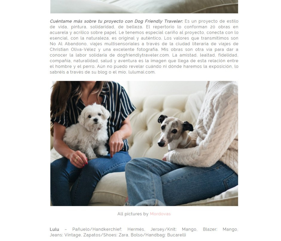 Mención del proyecto DOG FRIENDLY TRAVELER y Lulu Figueroa Domecq.