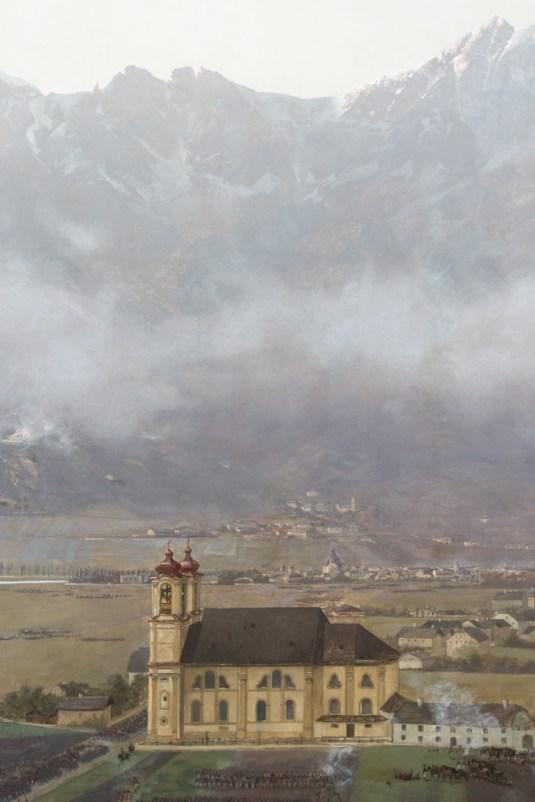 Catedral de Innsbruck, mural del Museo Tirol Panorama.
