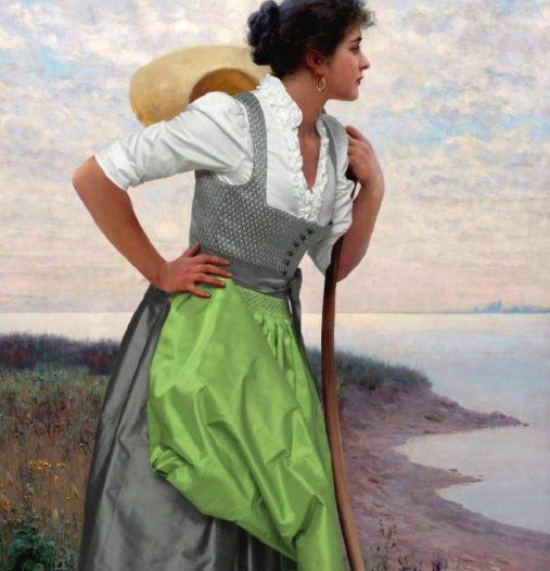 Pintura de traje regional del archivo histórico de la casa.