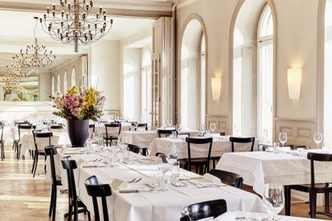 Salón interior del Restaurante Krafft Basel.