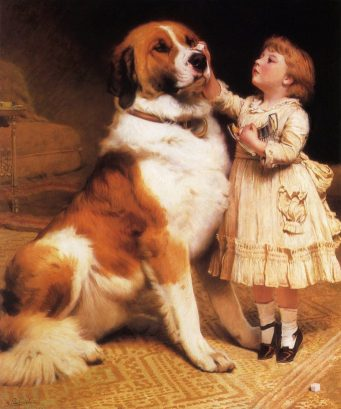 Dulce testimonio de confianza absoluta en 'Trust'. La niña juega con su San Bernardo a que él podrá sostener un terrón de azúcar sobre su nariz (óleo del año 1888).