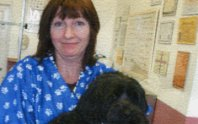 Alison and a client's dog during a grooming session.
