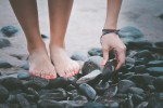 Feet Seashore Sand Pebbles Stones Hand Wet Beach