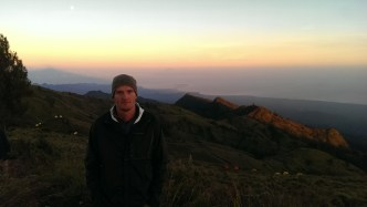 Dawn on day 3. The Gili islands, Bali's volcano and the full moon are in the disance