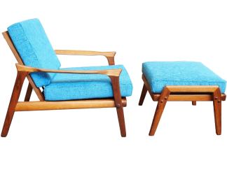 Danish Deluxe Inga Chair and Ottoman