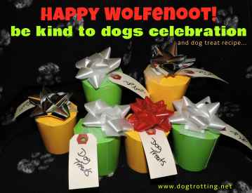 paper cup gift holders filled with dog treats for wolfenoot