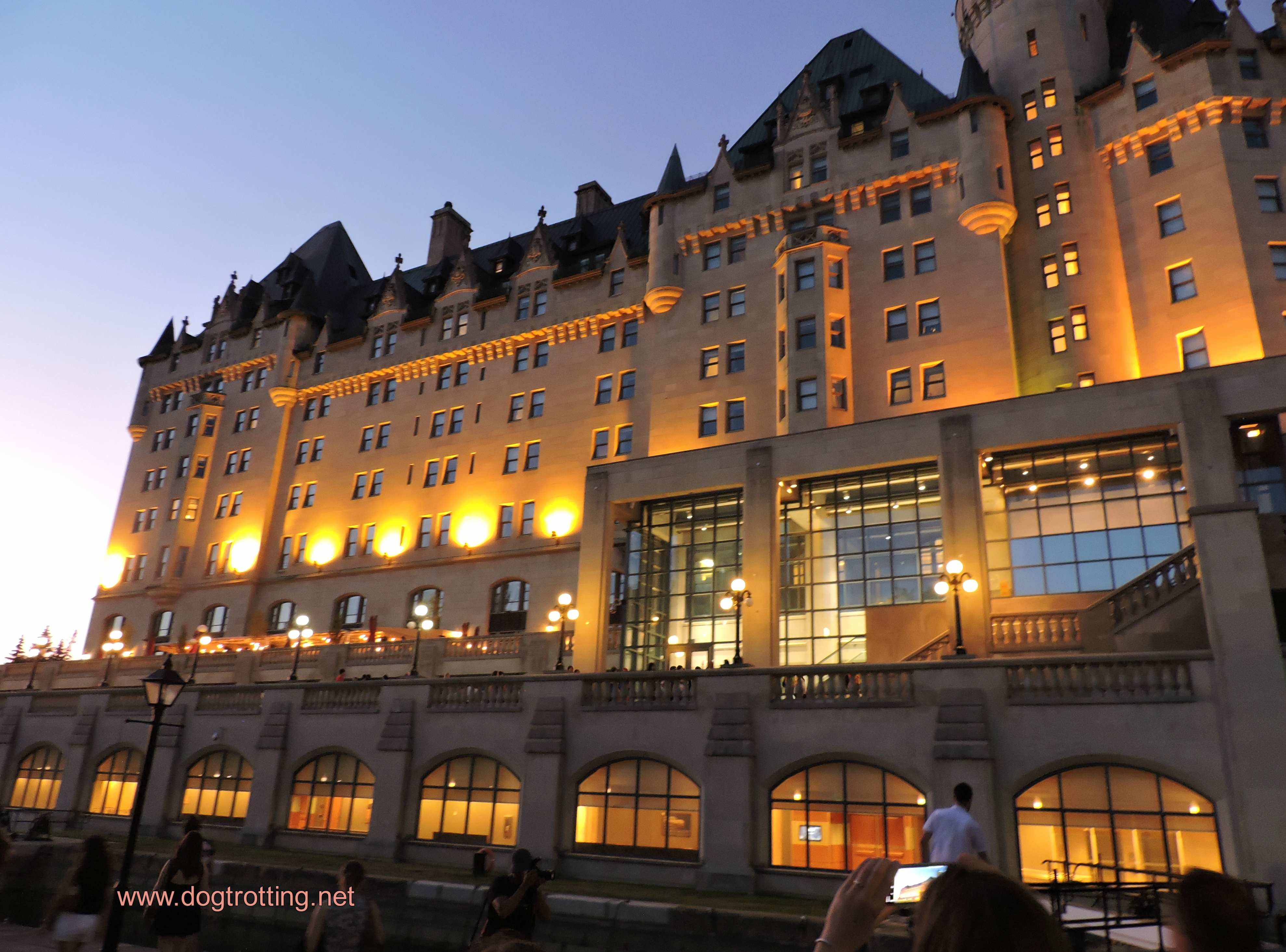 Fairmount Hotel Ottawa after dark on Haunted Walk Tour