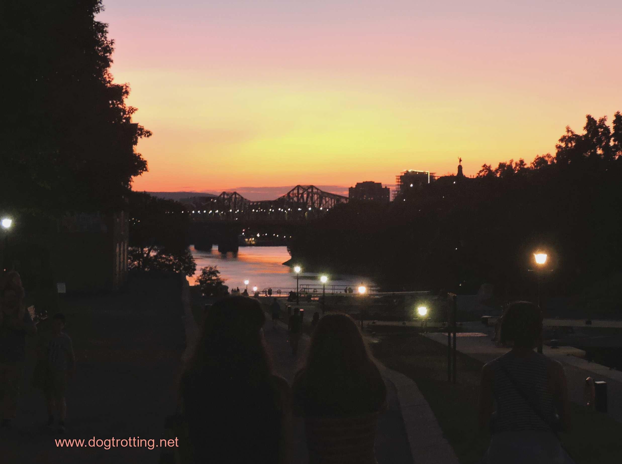 sunset in Ottawa on Haunted Walk Tour