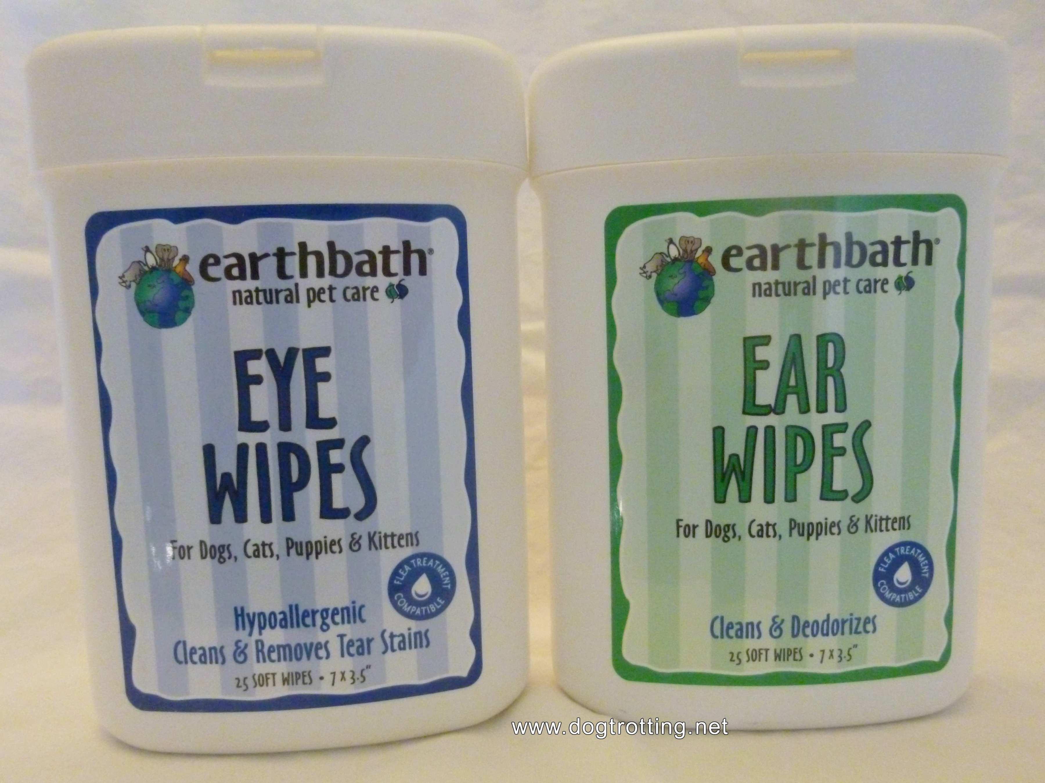 Earthbath eye wipes and ear wipes