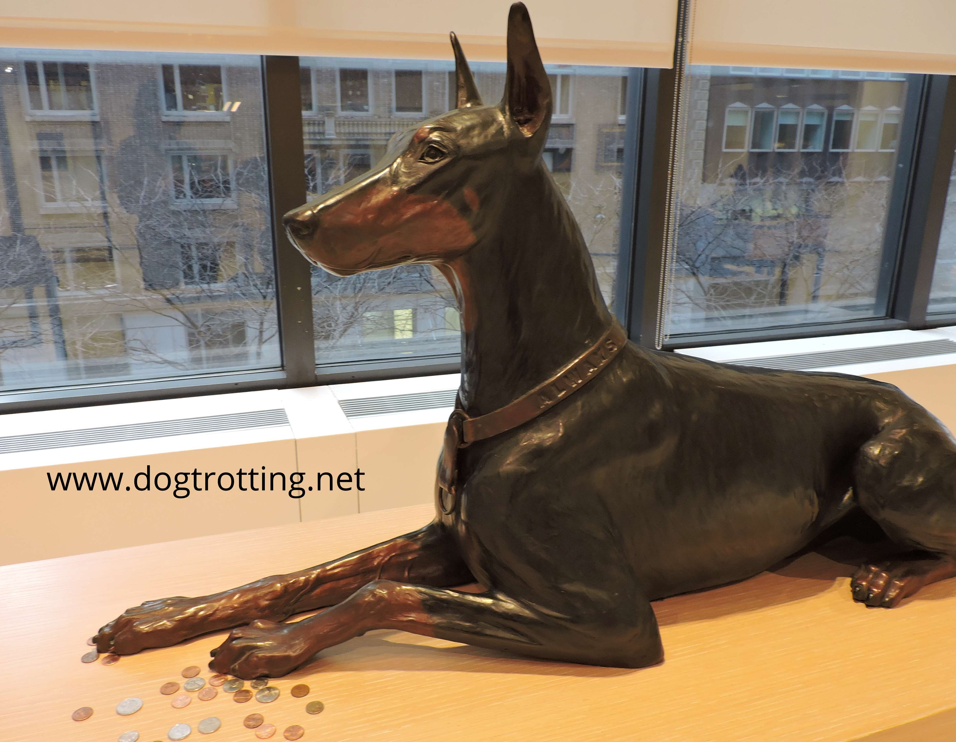 Always Faithful sculpture of Doberman Dog